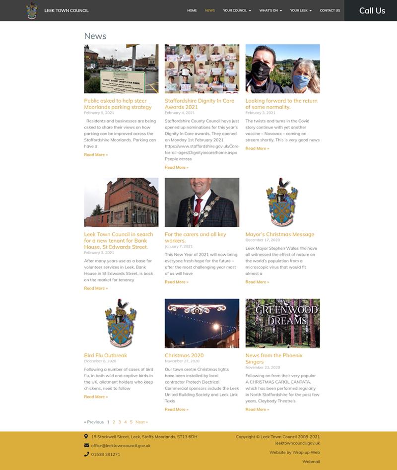 Wrap up Web Portfolio Leek Town Council News