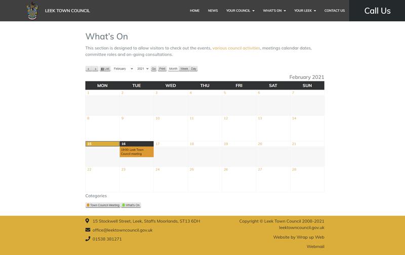 Wrap up Web Portfolio Leek Town Council Whats On